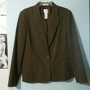 Plus Size 16 Brown Pinstripe Blazer